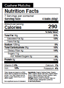 Nunona Cashew Matcha Nutritional Table