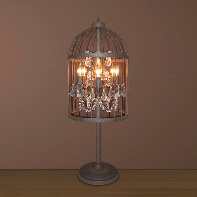 5 LIGHT IRON CAGE TABLE LAMP