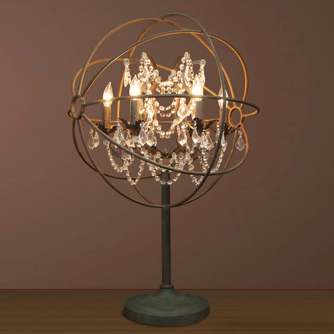 5 LIGHT IRON & CRYSTAL TABLE LAMP