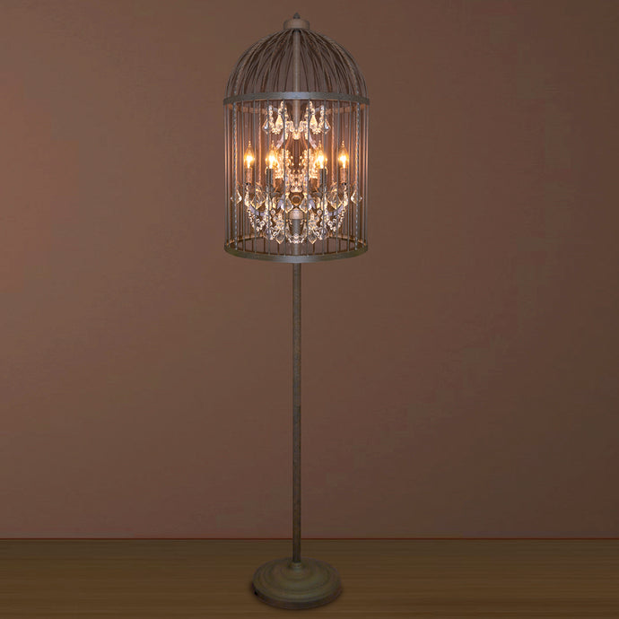 6 LIGHT IRON CAGE FLOOR LAMP