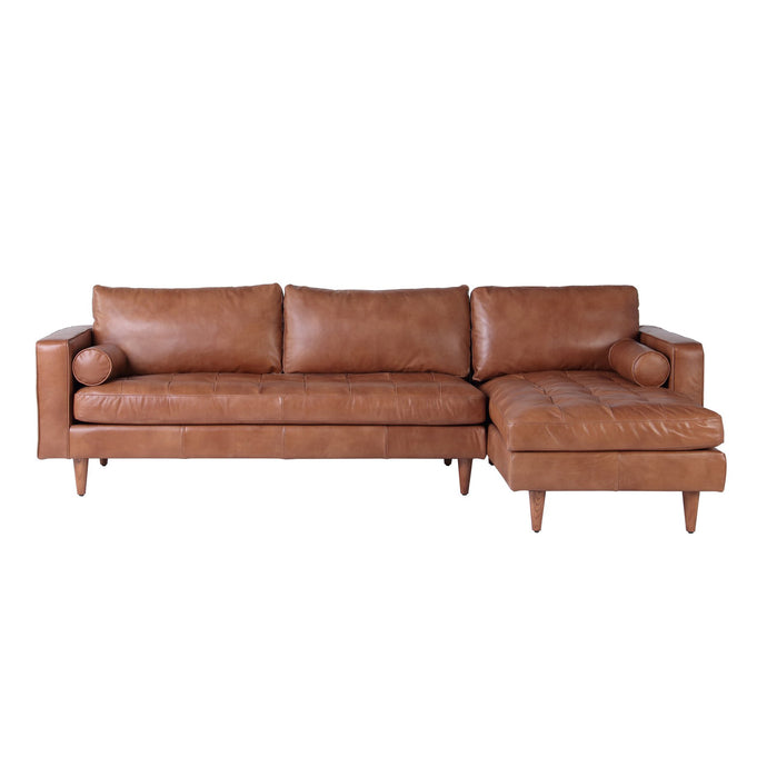 ROMA SECTIONAL IN COGNAC LEATHER