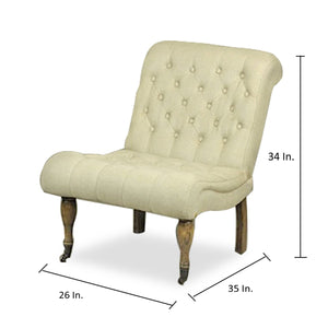 IVORY BUTTON TUFTED ACCENT CHAIR