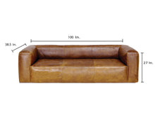 Load image into Gallery viewer, COOPER LEATHER SOFA in BROWN