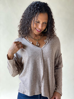 Chocolate Brown Long Sleeve Two Tone Knit V-Neck Top