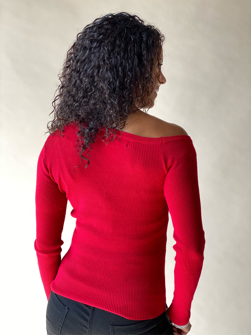 Red Not So Basic One Shoulder Top