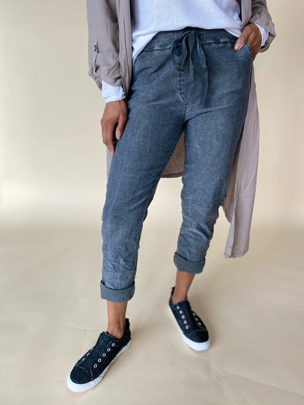 Grey Jogger with Silver Stripe Side Detail