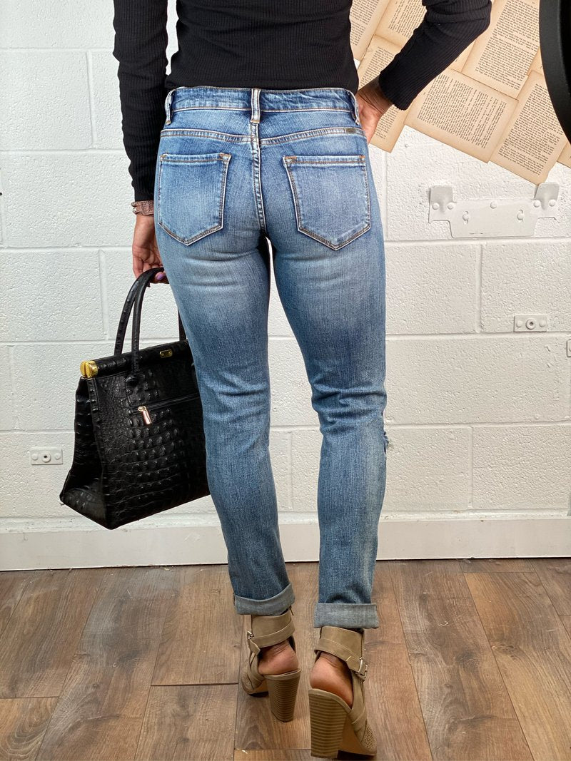 Relaxed Fit Distressed Boyfriend Jean