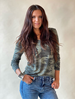 Army Green Distressed Camoflage Long Sleeve Top