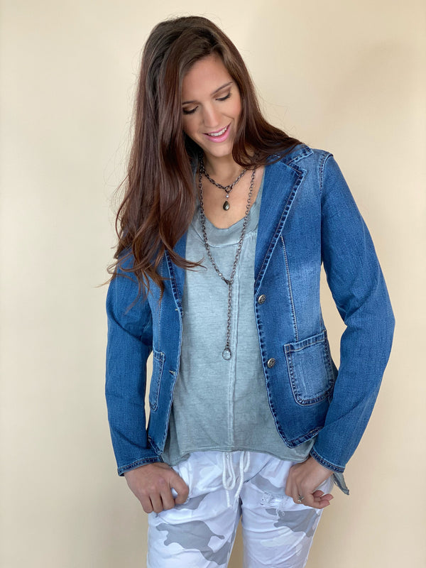 Six Denim Brand Front Pocket Blazer