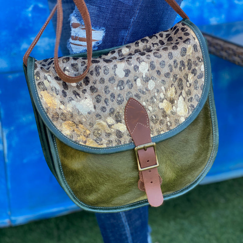 Italian Leather Leopard Shoulder Bag - Green/Gold Accents