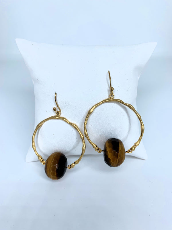 Faceted Stone Ball Hoop Brown G