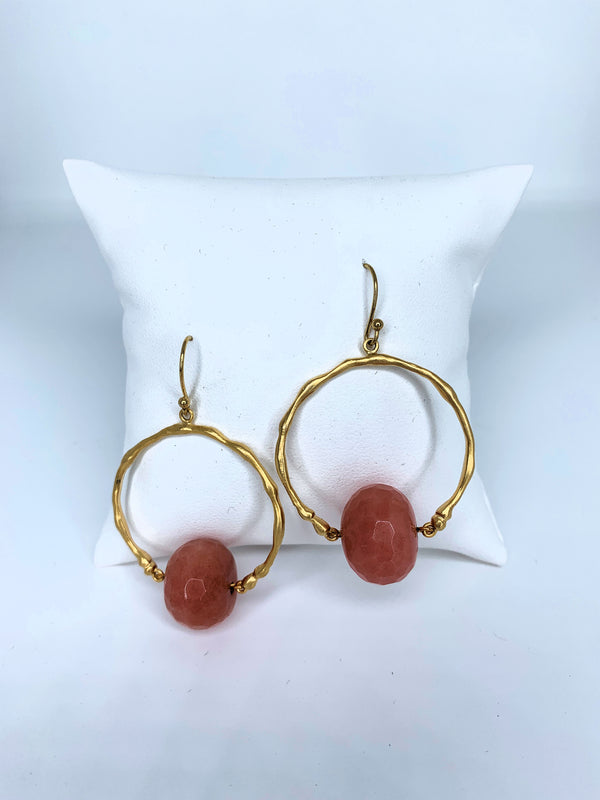 Faceted Stone Ball Hoop Coral G