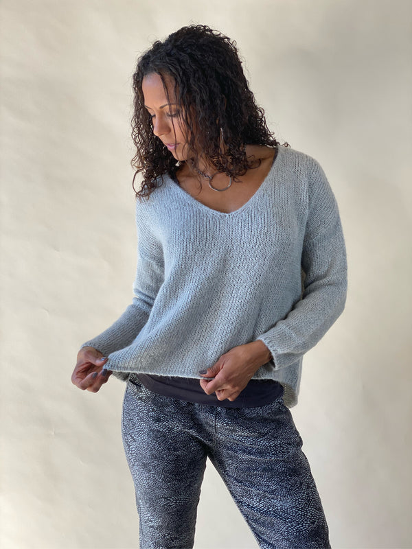 Grey Lurex V-Neck High Lo Crochet Long Sleeve Sweater