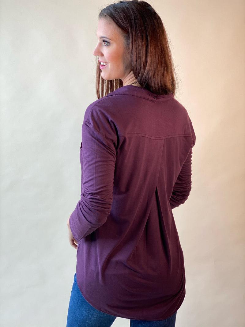 Eggplant Garland Buttoned Long Sleeve Top