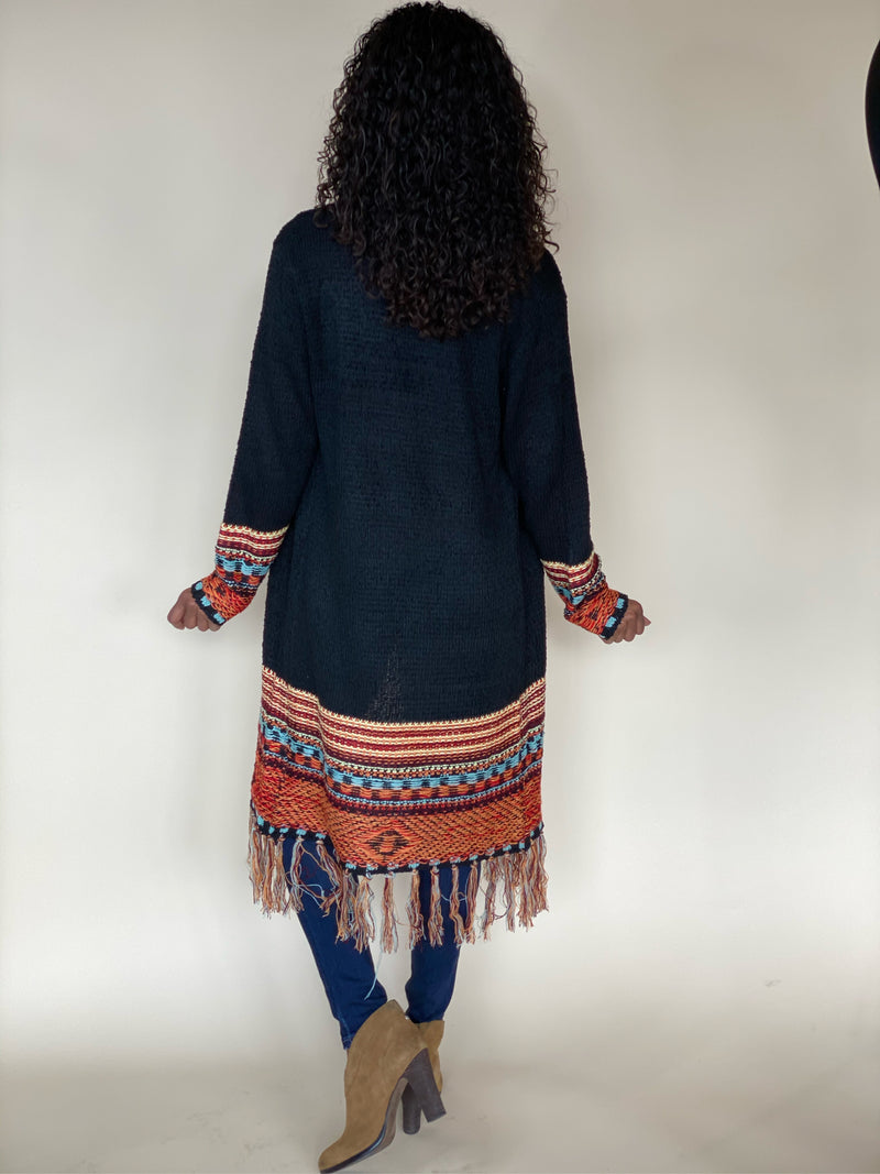 Black Native Cardigan with Fringe