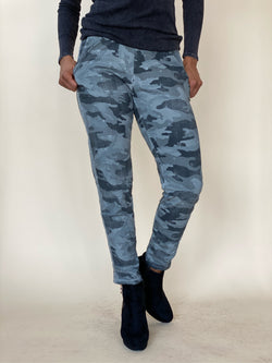 Grey Camouflage Star Crinkle Jogger with Contrast Side Stripe