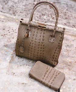 Croc-Embossed Italian Leather Top Handle Bag - Taupe