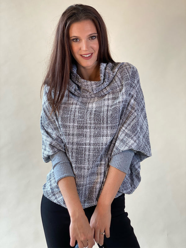 Grey Textured Plaid Knit Cape Top with Cowl Neck