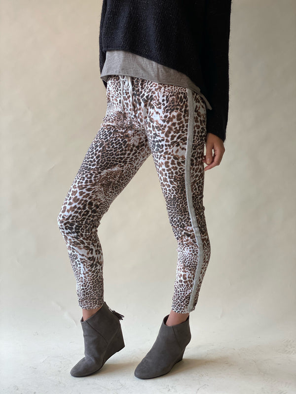 Cheetah Print Crinkle Jogger with Lurex Stripe