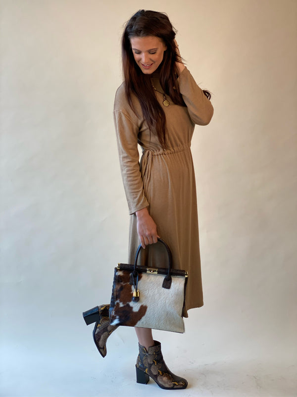 Soft Knit Long Sleeve Dress withWaist Draw Cord - Camel-