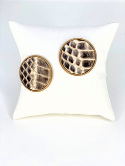 Leather Disc Earrings Brown