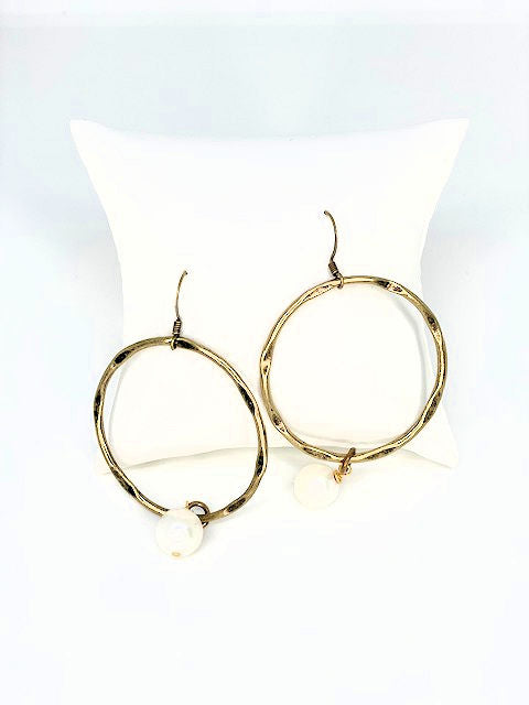 Sophisticated Pearl Metal Hoops