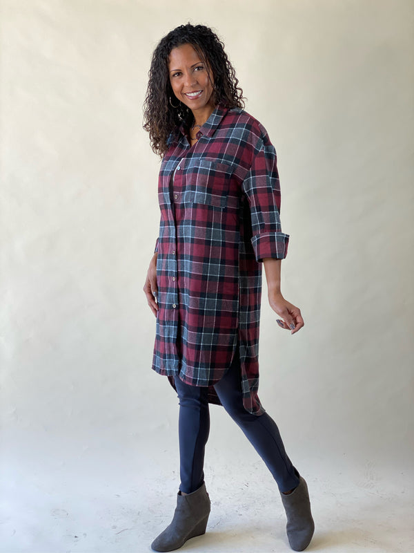 Plenty of Plaid Long Shirt -Red