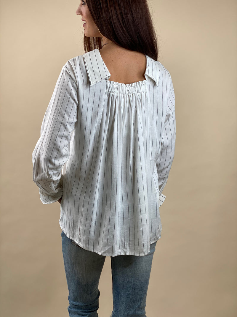Collared Pinstripe Backwards Shirt