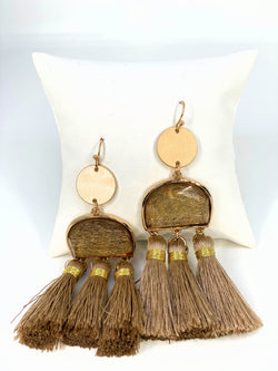 Scratched Resin & Tassel Earrings Lt Brown G