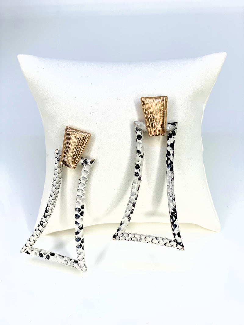 Snake Skin Curved Trapzoid Earring
