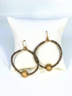 Sophisticated Ball Bead Circle Earrings Taupe