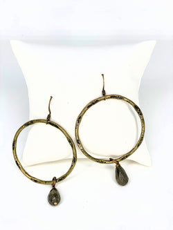Sophisticated Olive Stone Hoops