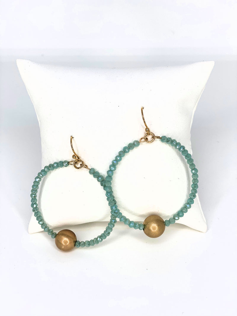 Sophisticated Twist Ball Bead Circle Earrings Mint
