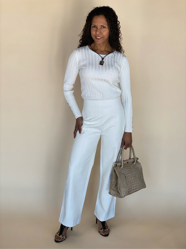 White Wide Leg Long Pants