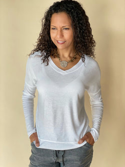White Shimmer V-Neck Long Sleeve Top