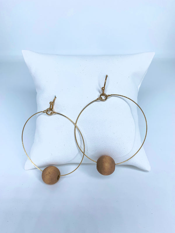 Wood Bar Circle Earring