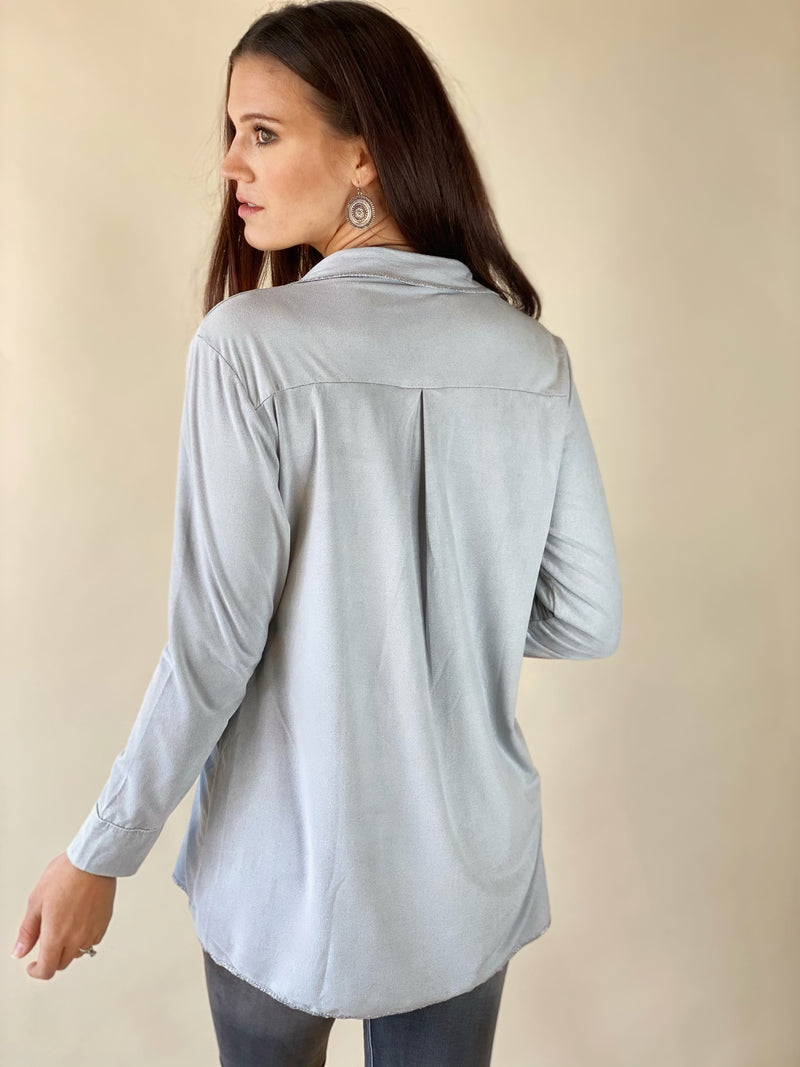 Silver Long Sleeve Tunic with Trim