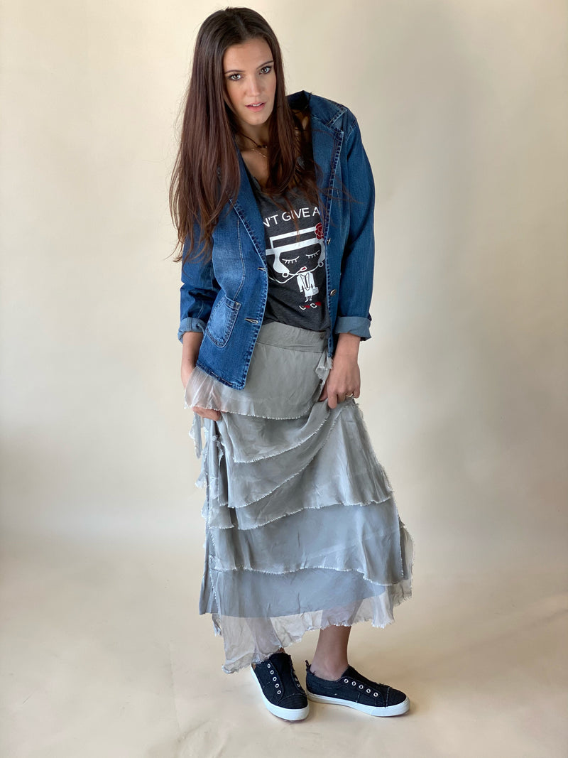 Silver Angled Tiered Skirt