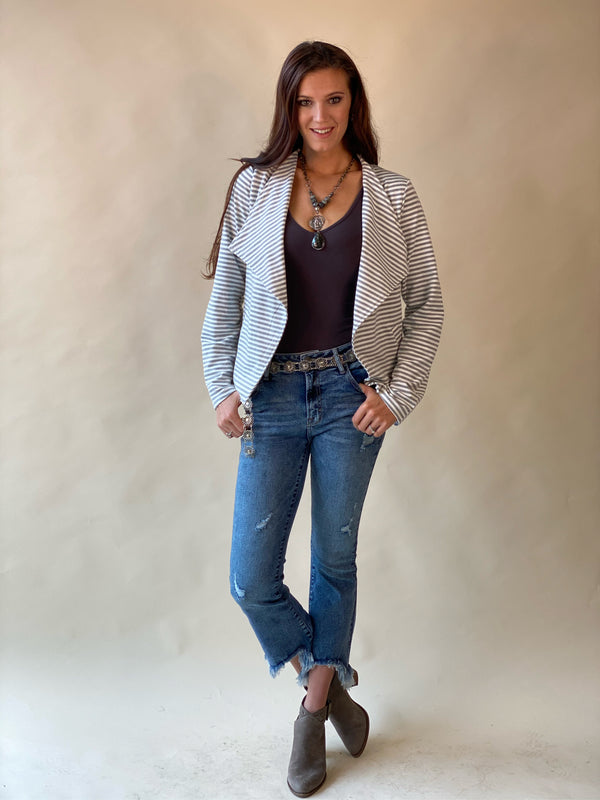 Ivory and Grey Knit Jacket