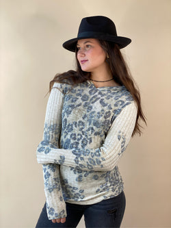 Oatmeal Animal Print Hoodie Long Sleeve