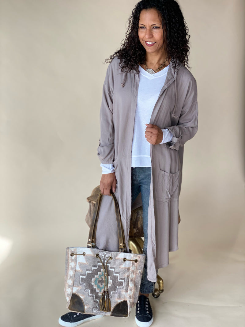 Taupe Long Hooded Cardigan with Pockets