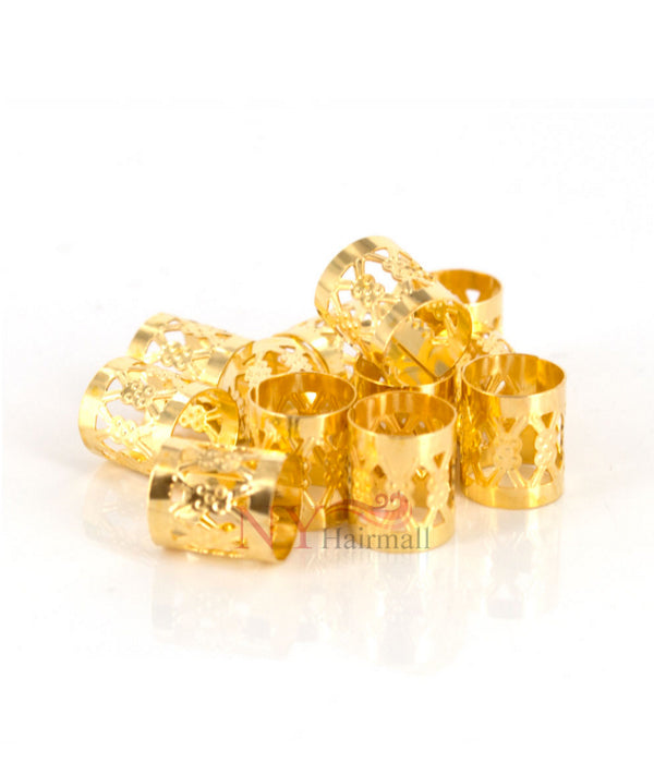 Hair Rings for Dreadlocks, Braiding & Natural Hair (Small) - Gold