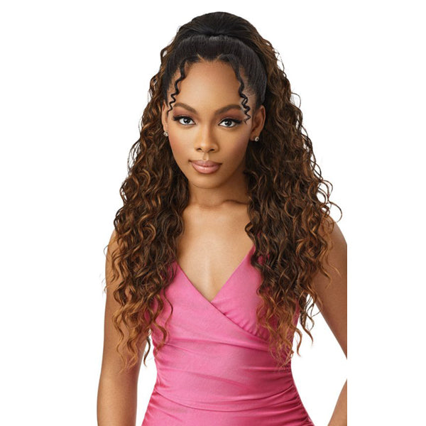 Outre Pretty Quick Pony Synthetic Drawstring Ponytail - BEACH WAVE 28""