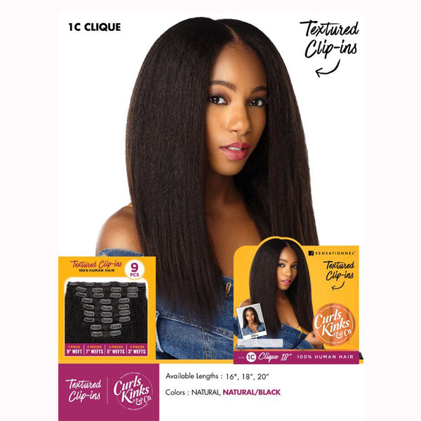 Sensationnel Curls Kinks & co Textured Clip ins - 1C CLIQUE