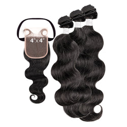 My Tresses Black Label 100% Unprocessed Hair Bundle 3PCS + 4X4 Closure - NATURAL BODY