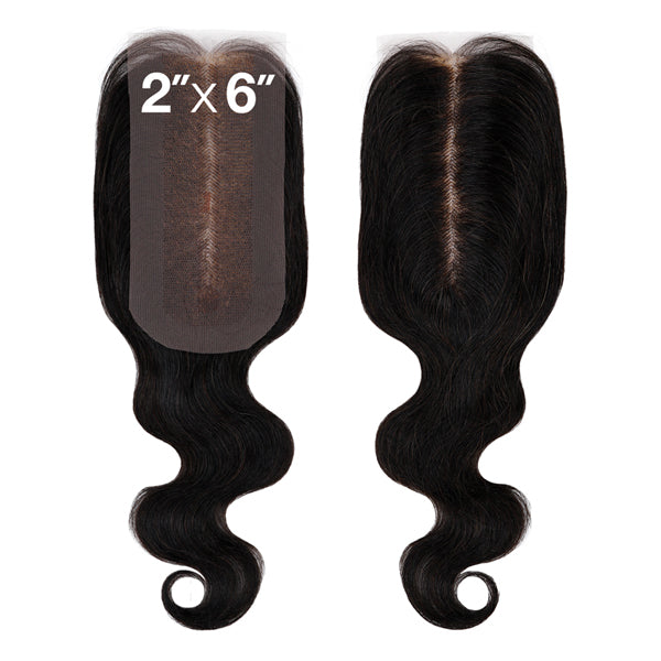 Sensationnel 7A Virgin Human Hair Bleached Knots 2X6 Lace Part Closure - BODY WAVE 12""