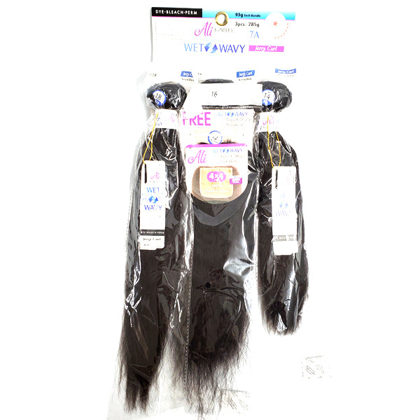 Chade Ali 3Pcs 7A Bundles 4x4 Closure Wet & Wavy Multipack - JERRY CURL