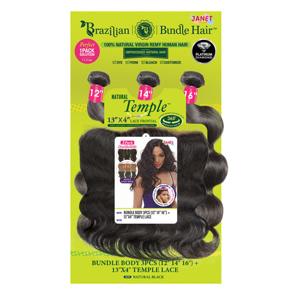"Janet Collection Brazilian Bundle Closure Multipack Hair - BODY 3PCS 13""X4""TEMPLE LACE"