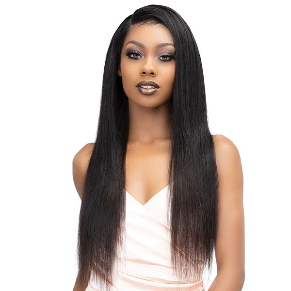 Janet Collection Melt 100% Natural Virgin  Bundle Closure Multipack Hair - NATURAL STRAIGHT 3PCS 4X5 HD FREE PART