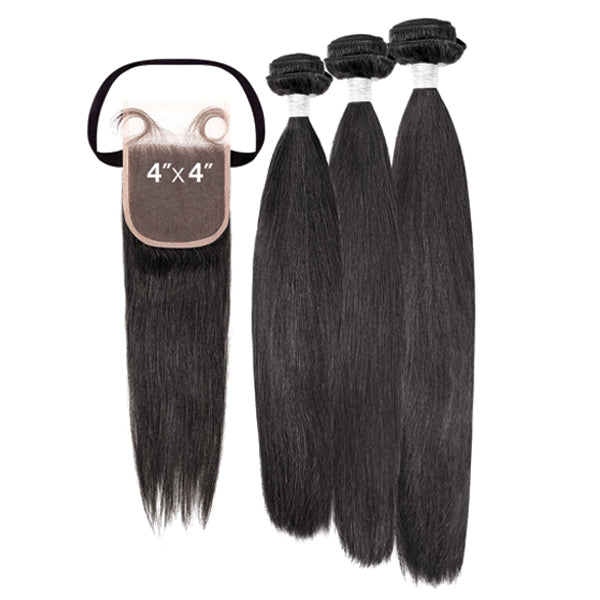 My Tresses Black Label 100% Unprocessed Hair Bundle 3PCS + 4X4 Closure - NATURAL STRAIGHT